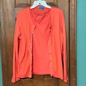 Coral tank top with cardigan XL